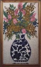 Вышивка бисером, картина из бисера, Ваза с цветами