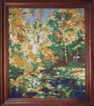 Вышивка бисером, картина из бисера, Осенний лес